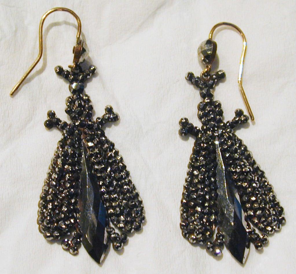 Victorian Antique Cut Steel Bee Earrings For Sale