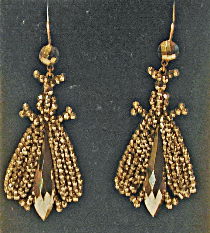 Women's Antique Cut Steel Bee Earrings For Sale
