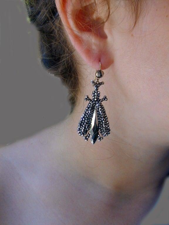 Antique Cut Steel Bee Earrings For Sale 2