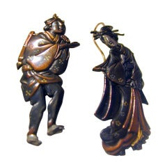 Antique Shakudo Earrings of a Man and Woman