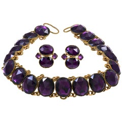 """Antique """"Queen Anne"""" Suite of Riviere Necklace and Earrings"""