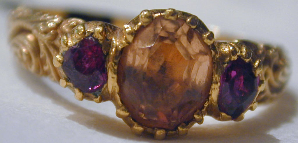 Georgian Antique Topaz Ruby Ring For Sale