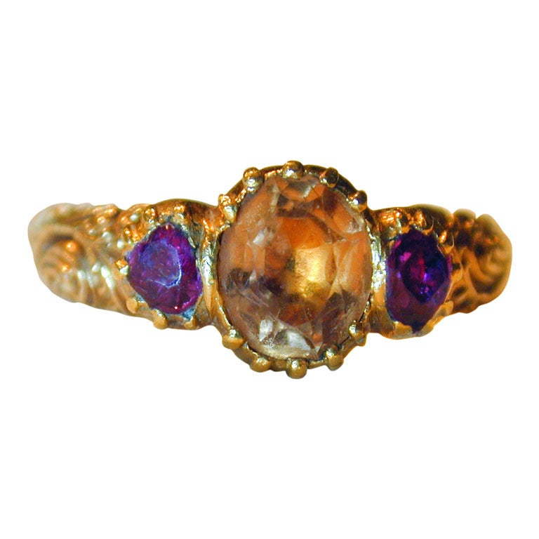 Antique Topaz Ruby Ring For Sale