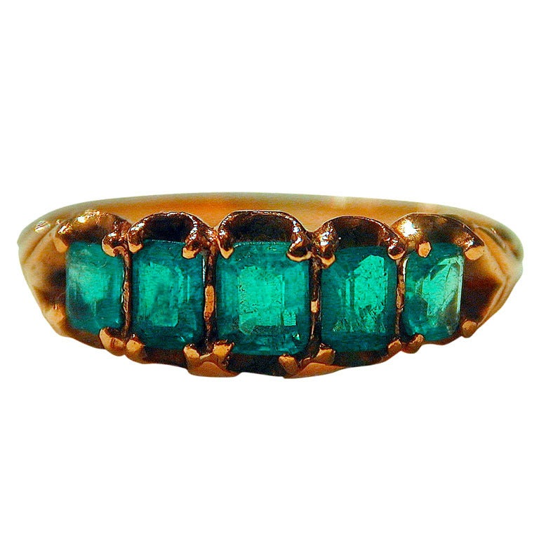 Antique Five Stone Emerald Ring 1