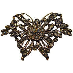 Antique Rose Diamond Butterfly Brooch