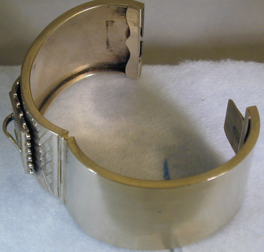 Antique Victorian Sterling Silver Cuff Bracelet In Excellent Condition For Sale In Baltimore, MD