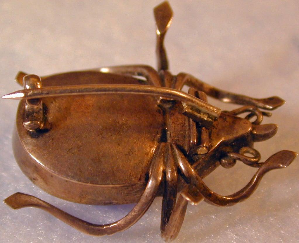 Antique Beetle Brooch of Foiled Crystal 1