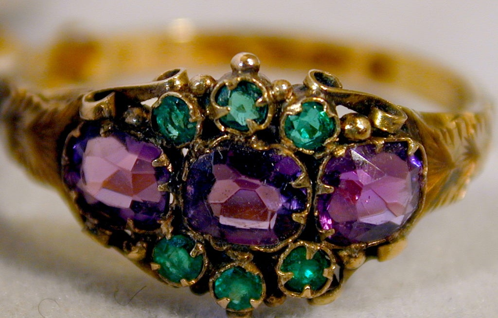 antique amethyst emerald cluster ring at 1stdibs