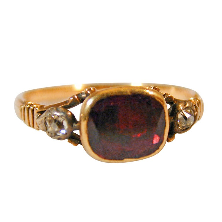 antique garnet basket set ring with diamonds for sale at