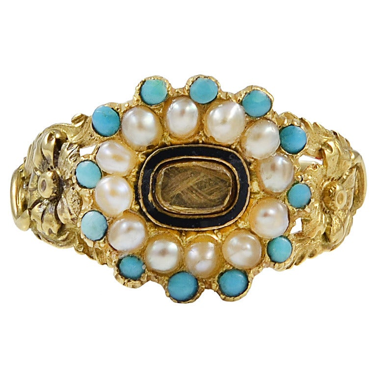 Antique Turquoise Pearl Gold Memorial Ring