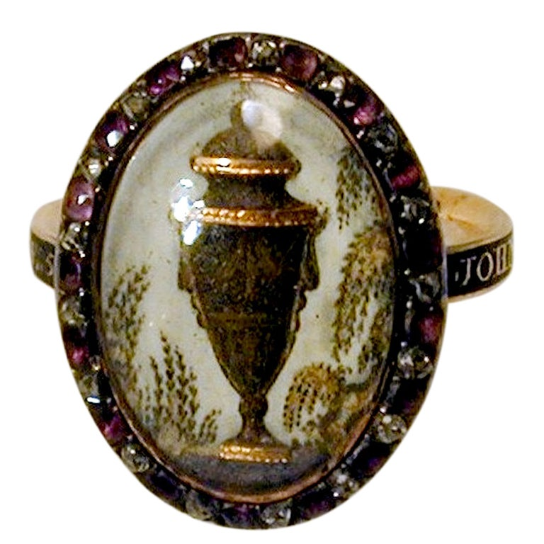 18th C. Urn Motif Memorial Ring with Diamond & Amethyst Surround 1