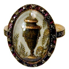 18th Century Urn Motif Memorial Ring with Diamond and Amethyst Surround