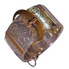Antique Sterling and Gold Buckle Bracelet