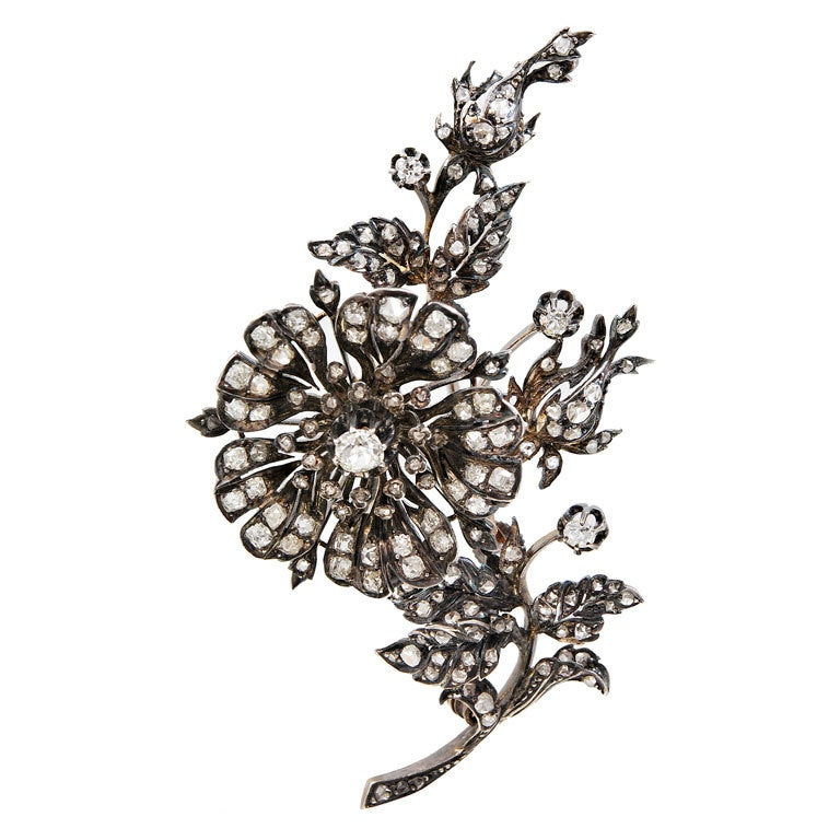 "Antique Diamond ""En Tremblant"" Rose Spray Brooch 1"
