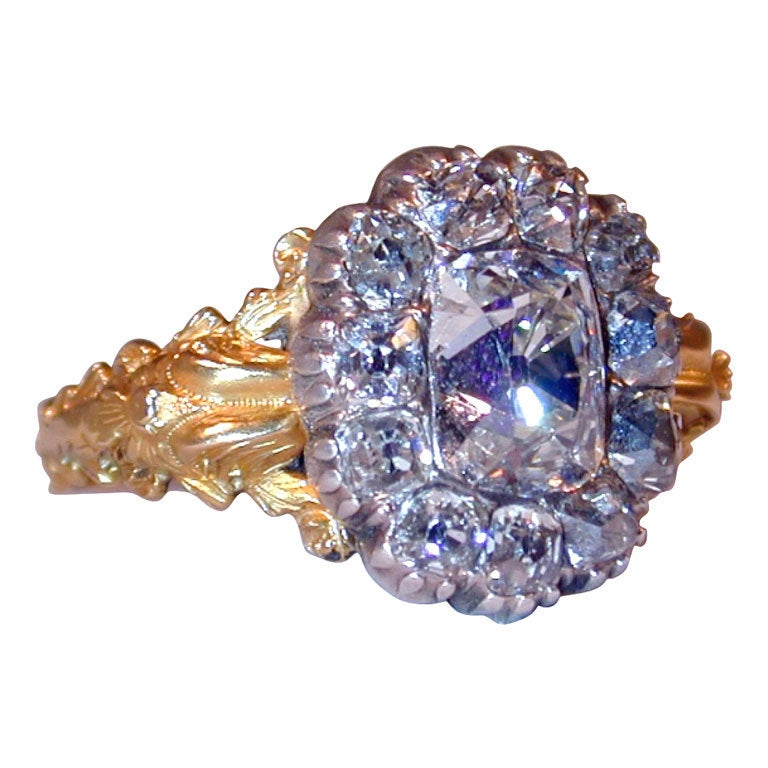 Extraordinary Early Victorian Diamond Cluster Ring 1