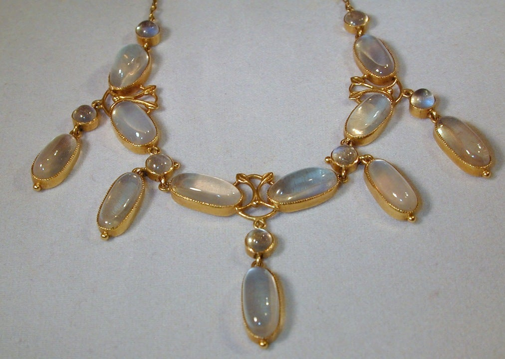 Antique Liberty and Company Moonstone Gold Necklace at 1stdibs