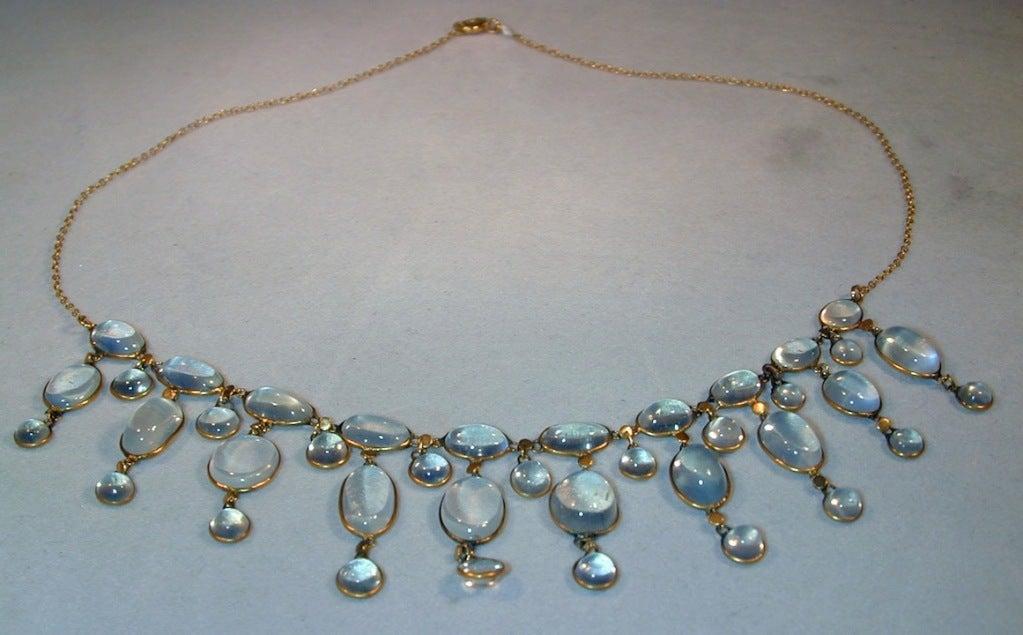 Edwardian Dazzling Antique Moonstone Drop Gold Necklace 2