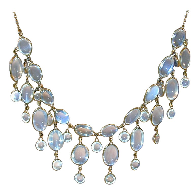 Edwardian Dazzling Antique Moonstone Drop Gold Necklace 1