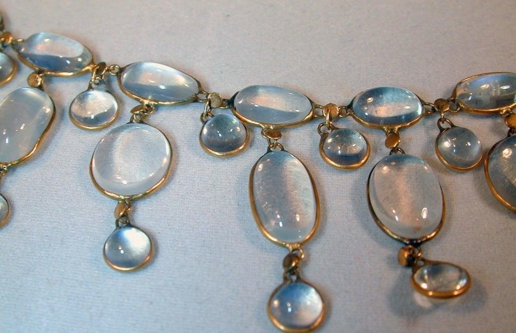 Edwardian Dazzling Antique Moonstone Drop Gold Necklace 3