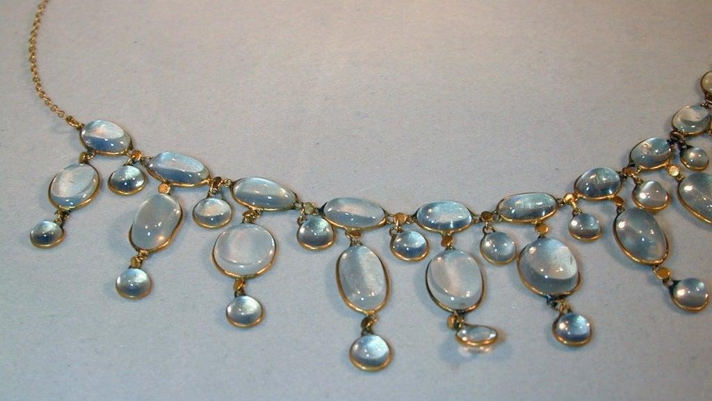 Edwardian Dazzling Antique Moonstone Drop Gold Necklace 4