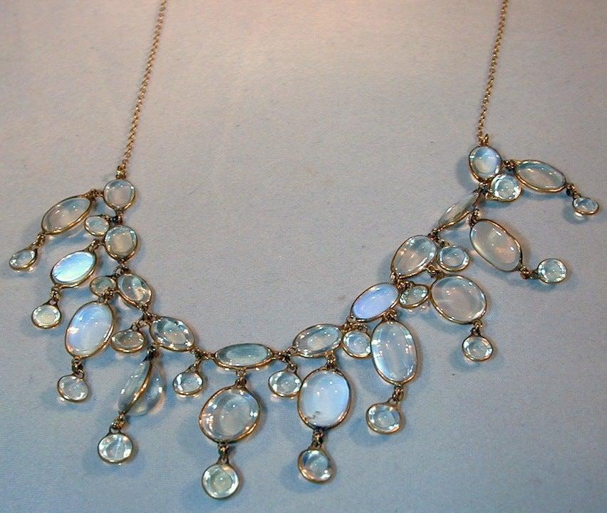 Edwardian Dazzling Antique Moonstone Drop Gold Necklace 5