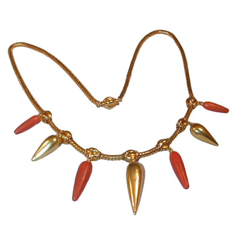 Antique Coral and Gold Necklace