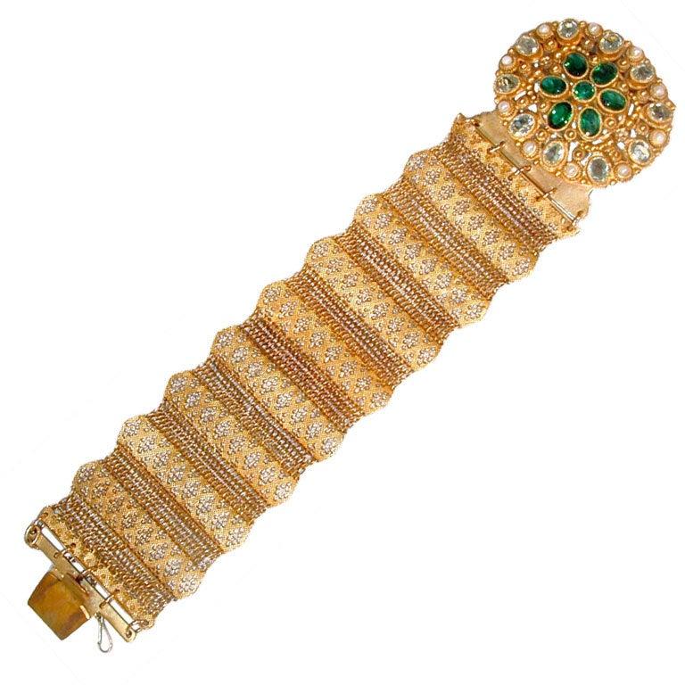Antique Pinchbeck and Paste Bracelet