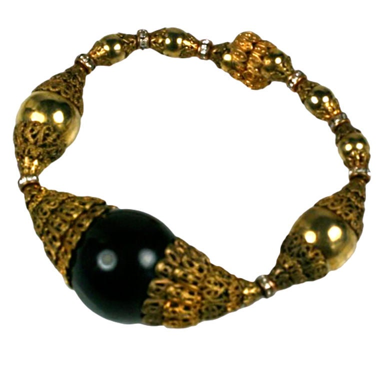 Chanel Filigree Capped Black Bakelite Bracelet