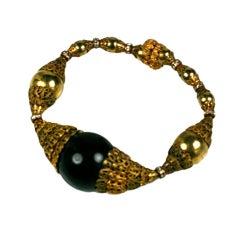 Chanel Filigree Capped Black Bakelite Bracelet