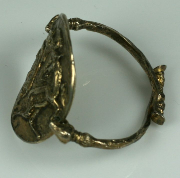 Rare Gilt Silver Capricorn Cuff, Chanel by Goossens In Excellent Condition For Sale In Riverdale, NY