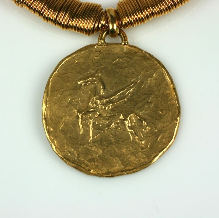 Zodiac Pendant Neckace, Coco Chanel, Goosens In Excellent Condition For Sale In Riverdale, NY