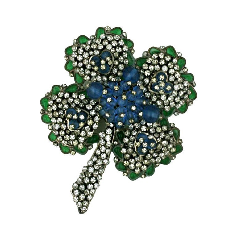 Chanel Poured Glass and Paste Clover Brooch For Sale