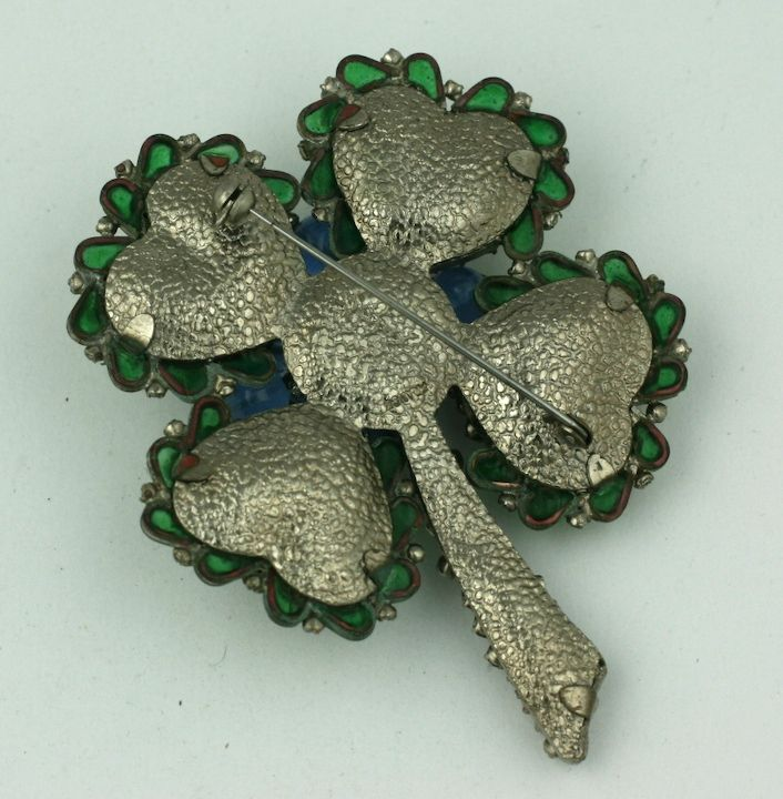 Chanel Poured Glass and Paste Clover Brooch In Excellent Condition For Sale In Riverdale, NY