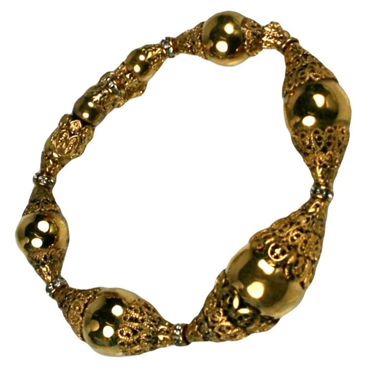 Chanel Filigree Capped Gilt Ball Bracelet 2