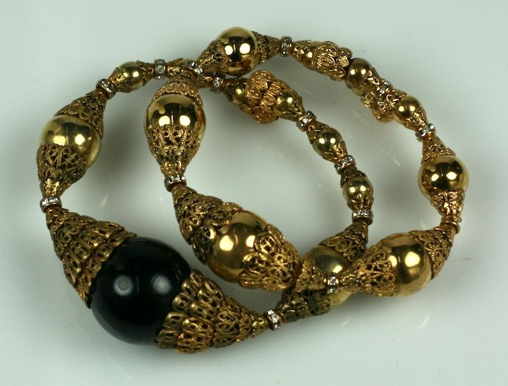 Women's Chanel Filigree Capped Gilt Ball Bracelet For Sale
