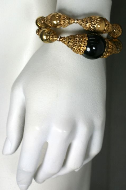 Chanel Filigree Capped Gilt Ball Bracelet For Sale 1