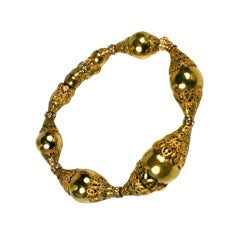 Chanel Filigree Capped Gilt Ball Bracelet