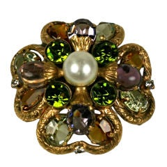 Coco Chanel Paste Set Clover Brooch, Goosens