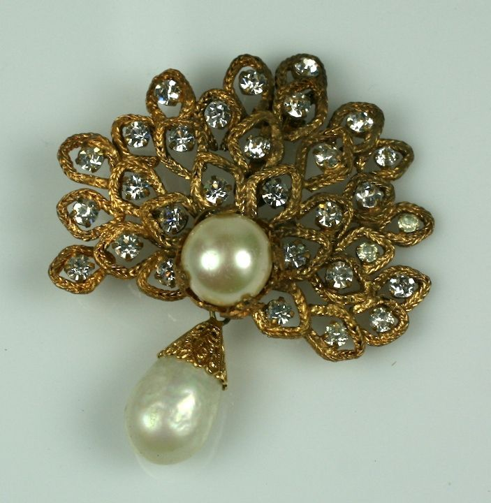 Chanel Gilt Leaf Brooch with Pastes and Pearls,  Goossens In Excellent Condition For Sale In Riverdale, NY