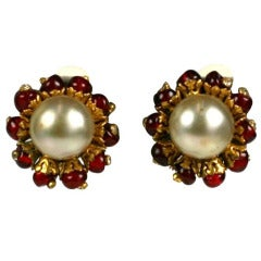Chanel Ruby Pate de Verre and Faux Pearl Earrings