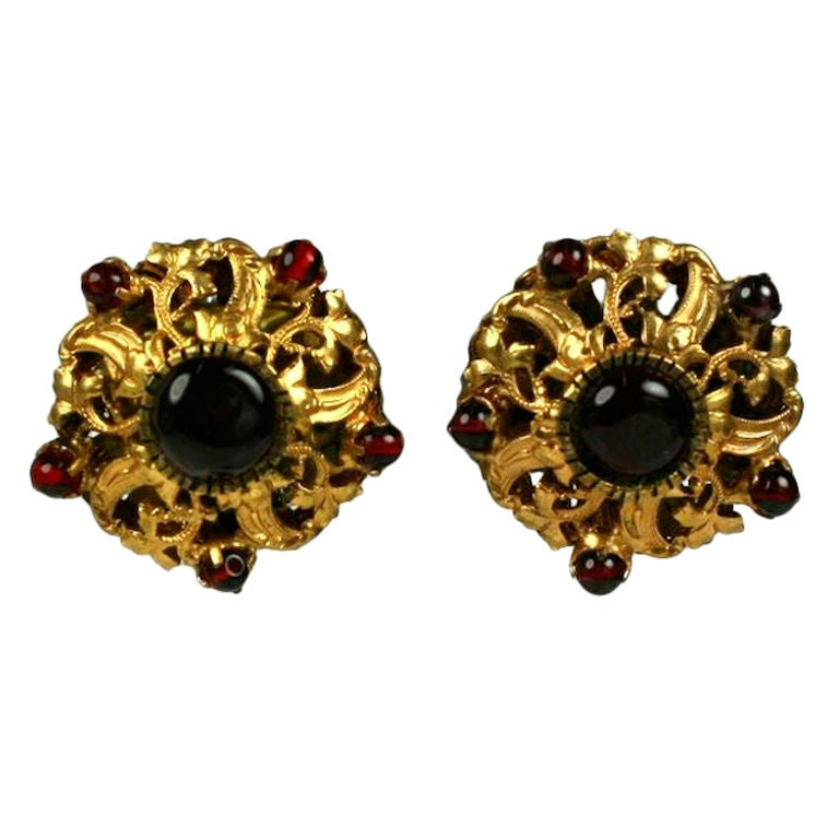 Chanel Filigreed Crown Earrings with Ruby Beads: Goosens