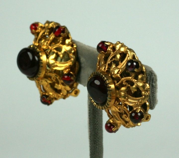 Women's Chanel Filigreed Crown Earrings with Ruby Beads: Goosens For Sale