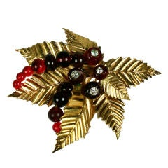 Chanel Ruby Pate de Verre Holly Brooch: Goossens