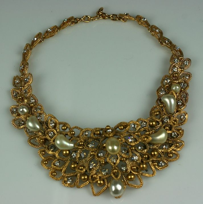 Chanel Gold Leaf Bib with Tooth Pearls, Workshop: Goossens image 2