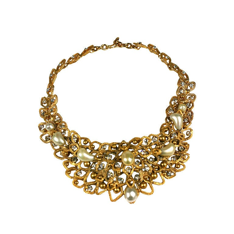 Chanel Gold Leaf Bib with Tooth Pearls, Workshop: Goossens