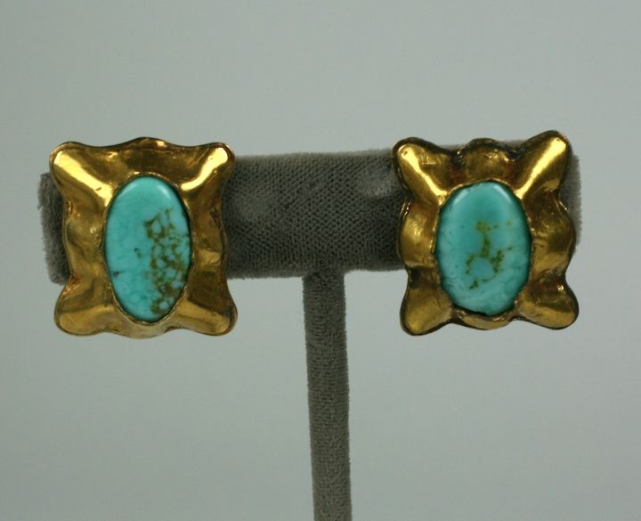 Matrix Turquoise Pate de Verre Ear Clips; Chanel In Excellent Condition For Sale In Riverdale, NY