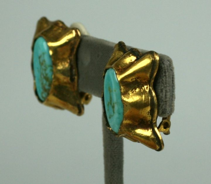 Women's Matrix Turquoise Pate de Verre Ear Clips; Chanel For Sale