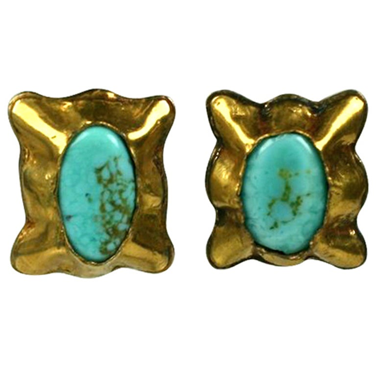 Matrix Turquoise Pate de Verre Ear Clips; Chanel For Sale