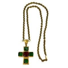 Poured Glass Iconic Cross Necklace, Chanel