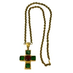 Poured Glass Iconic Medieval Cross Necklace, Chanel
